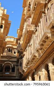 The architectural details of Patwa ki Haveli in Jaisalmer, Rajasthan, India