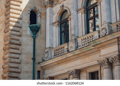Architectural details of Rathaus that is the famous Hamburg City Hall, Germany.