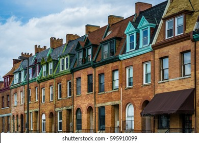 Architectural details of row houses in the Station North Arts and Entertainment District, in Baltimore, Maryland.