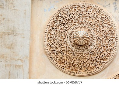 Architectural details of ruins of Heritage and Monument Golconda fort  built in 1600s,Hyderabad,India
