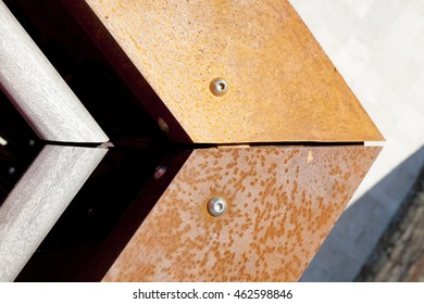 Architectural details - Rusty steel structure joint