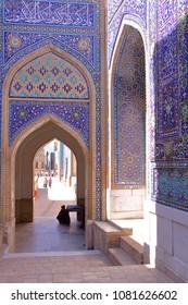 Architectural details at Shah-i-Zinda in Samarkand, Uzbekistan