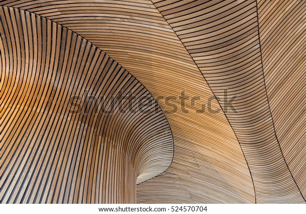 Architectural details of Welsh Assembly building. Wooden planks from sustainable sources. Eco-friendly design at its best.