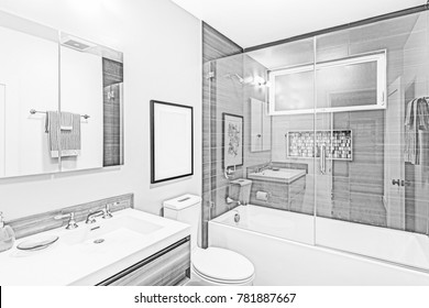 Architectural Drawing of Bathroom - Illustration in black and white.