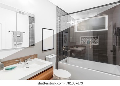 Architectural drawing of bathroom -  Illustration Drawing diagonal Split screen to Photograph