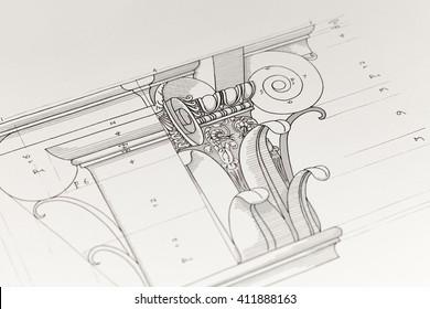 architektonische Zeichnung - Detailspalte