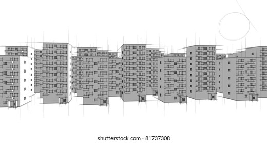 architectural drawing of housing development in the evening