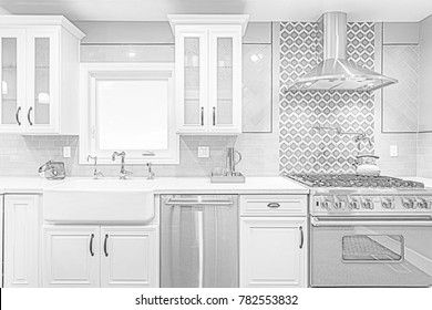 Architectural Drawing of Kitchen in black and white