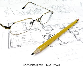 architectural drawing plan of house project - architecture, engineering and real estate styled concept, elegant visuals