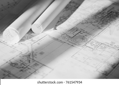 Architectural Drawing or Project Lies on a Table