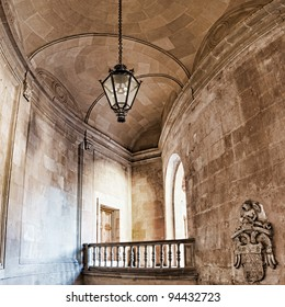 Architectural elements with ancient stairs and arches in high definition range vertical panorama. Alhambra, Spain