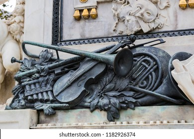 Architectural elements of the Mozart monument created in 1896 in Vienna in Austria.