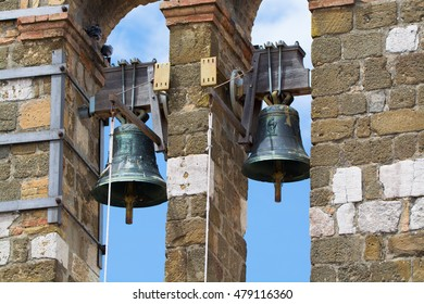 Architectural elements of old bell tower and church in Gaeta, Italy