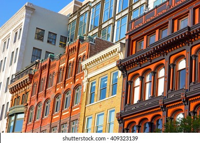Architectural elements of Washington DC buildings. Metro Center neighborhood buildings under the afternoon sun.