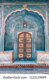 Architectural features in the City palace in Jaipur, India