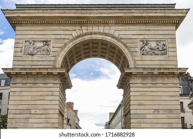 Architectural fragment of Guillaume Gate (Porte Guillaume, XVIII century), neo classical triumphal arch, erected in honor of Prince de Conde, governor of Burgundy. Dijon, France.