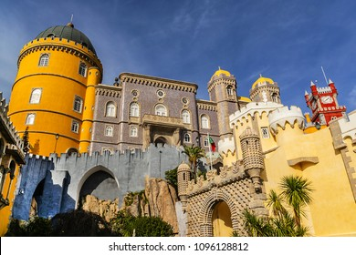 Architectural fragment of Pena Palace - Romanticist palace in Sao Pedro de Penaferrim. Sintra, Portugal. Pena Palace - UNESCO World Heritage Site and one of Seven Wonders of Portugal.