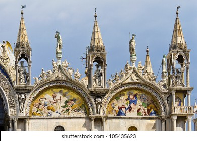 Architectural fragment of upper part of basilica Patriarchal Cathedral Basilica of Saint Mark is the cathedral church of Roman Catholic Archdiocese of Venice.It lies at Piazza San Marco, Venice, Italy