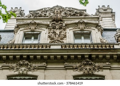 Architectural fragments of ancient buildings in Paris.