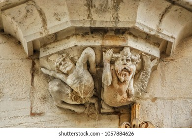 Architectural fragments of Ducal Palace of Nancy (Palais ducal du Nancy, XV century). Now palace is a museum Lorrain, dedicated to art, history and traditions of Lorraine. Nancy, Lorraine, France.