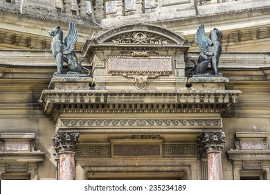 Architectural fragments of Famous Chateau de Chantilly (Chantilly Castle, 1560). Chantilly is a historic chateau located in town of Chantilly, Oise, Picardie, France.