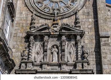 Architectural fragments of Porto Church of Saint Francis (Igreja de Sao Francisco, 1410) - a fine example of Gothic architecture in the city. Porto, Portugal.