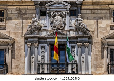 Architectural fragments of Royal Chancellery of Granada (La Real Chancilleria de Granada or Real Audiencia y Chancilleria de Granada, 1587) - building located in Plaza Nueva. Granada, Andalusia, Span.