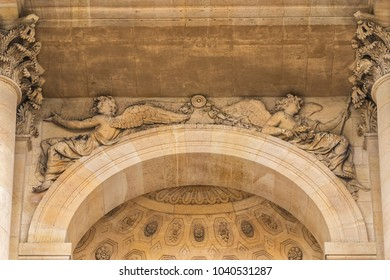 Architectural fragments of Saint Louis Chapel des Invalides in Paris. Chapel built in 1679 is the burial site for some of France's war heroes, notably Napoleon Bonapart. Paris. France.