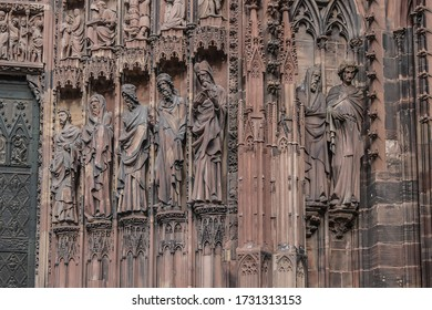 Architectural fragments of Strasbourg Cathedral Main Portal (Cathedral of Our Lady of Strasbourg or Cathedrale Notre-Dame de Strasbourg, 1439) - Roman Catholic cathedral in Strasbourg, Alsace, France.