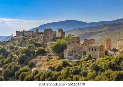 Architectural and historical towers dominating the area at the famous Vatheia village in the Laconian Mani peninsula. Laconia prefecture, Peloponnese, Greece, Europe.