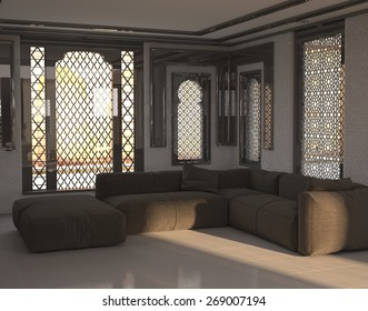 Architectural Interior of Sitting Room or Lounge with Sofa and Ottoman in Room with Arabian or Middle Eastern Style Windows. 3d Rendering.