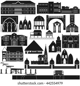 Architectural landmarks of the world. The illustration on a white background.