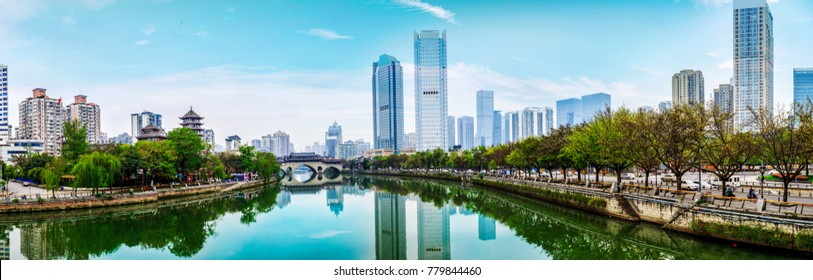 Architectural landscape on the edge of Jinjiang River in Chengdu