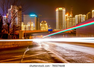 The architectural landscape of Qingdao city center and the light