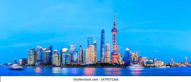 Architectural landscape of Shanghai at night