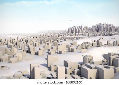 Architectural model miniature Mega City 3D