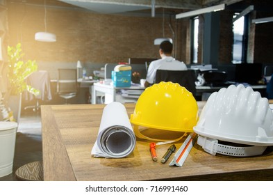 Architectural Office desk background Architect is working