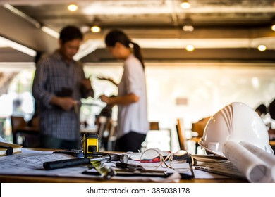 Architectural Office desk background construction project ideas