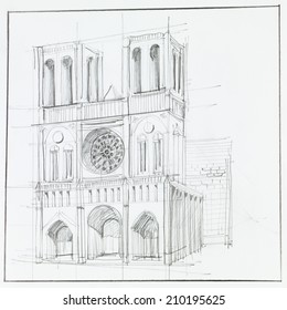 architectural perspective of Notre Dame Cathedral in Paris, drawn by hand