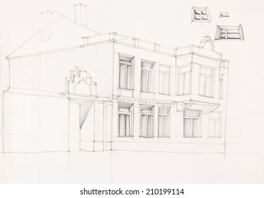architectural perspective of old house, drawn by hand
