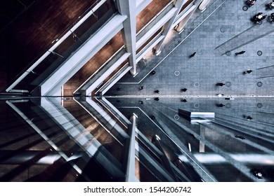 Architectural photography of shopping centre interior courtyard photographed in the Ginza area of Tokyo Japan