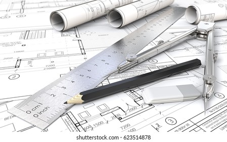 Architectural planning.  Architectural house drawings and blueprints. Rolls, Ruler, Pencil, Eraser and Divider of metal. Shallow depth of field, 3D render.