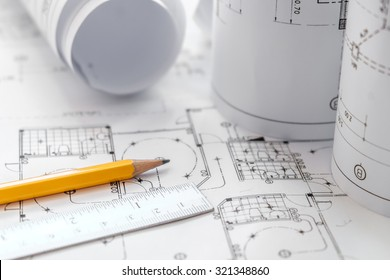 Architectural plans, pencils and ruler ,Blueprin non coopyligth