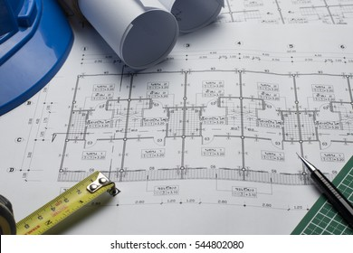 architectural plans project drawing with blueprints rolls
