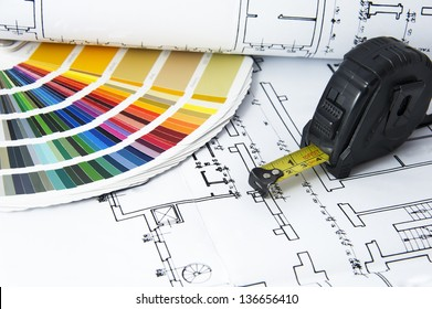 Architectural projects,  color guide and measurement tape