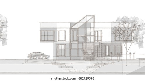 Architectural sketch, parallel projection, 3d illustration