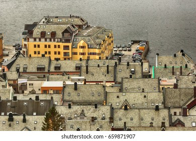 Architectural style of the  roofs in the norwegian town aalesund