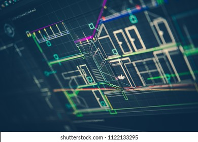 Architectural Technical Drawing on the Computer Screen. New House Design.