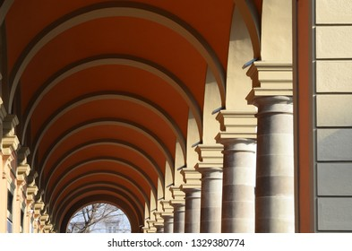 architectural vaults in a corridor in Florence Italy