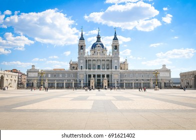 Architectural view of the Almudena Cathedral in Madrid, Spain